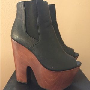 Platform wood ankle boots open toe boots